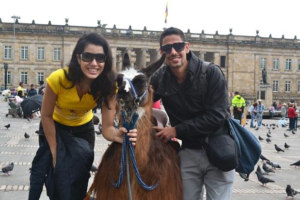 Turistas tirando fotos com Llama.
