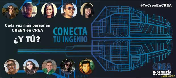 """Um dos cards para facebook, que diz: """"Conecta seu engenho"""" - em espanhol, ingenio significa é sinônimo de criatividade, mas também foi usado como trocadilho com 'ingeniería', que quer dizer engenharia."""